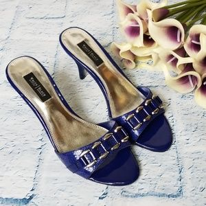WHBM Shiny Blue Slip On Heeled Sandal